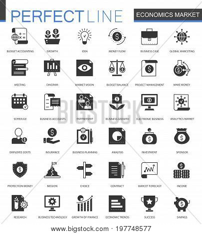 Black classic Economics market icons set. Money, trading and finance icon