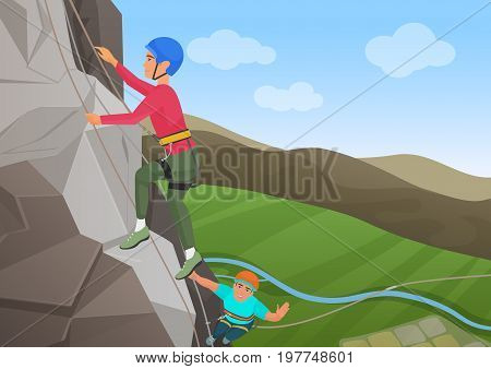 Vector illustration of frome above two men with professional equipment climbing on big rock