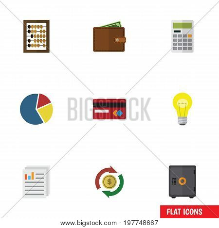 Flat Icon Gain Set Of Billfold, Payment, Interchange And Other Vector Objects