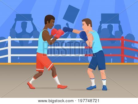 Vector illustration of black and white sportsmen boxing in ring