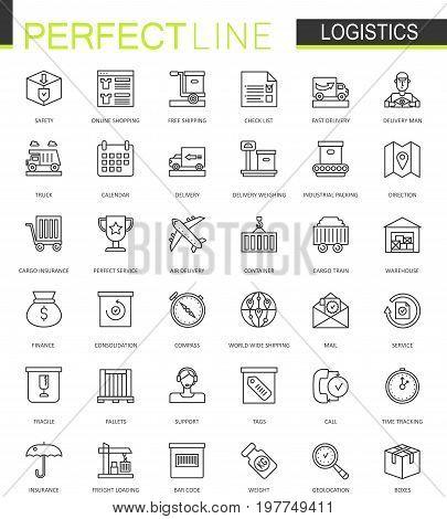 Logistics thin line web icons set. Transportation outline stroke icons design