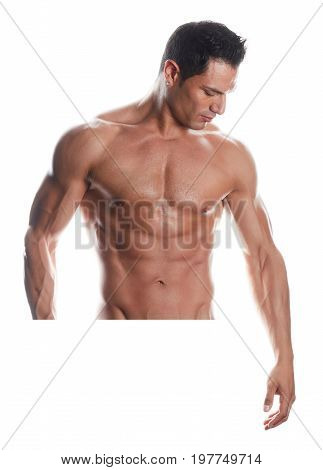 the very muscular handsome sexy guy on white background