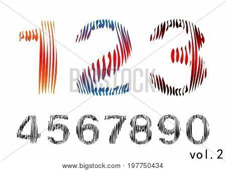 Arabic numerals set 1-10. Colored figures. Version 6