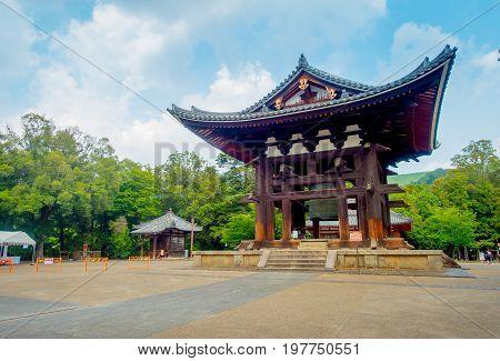 Nara, Japan - July 26, 2017: Old traditional architecture and street in Nigatsu-do, Todai-ji temple, Nara, Japan