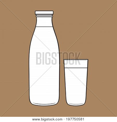 Side view drawing of bottle and glass with liquid, sketch vector illustration isolated on brown background. Hand drawn bottle and glass full of liquid