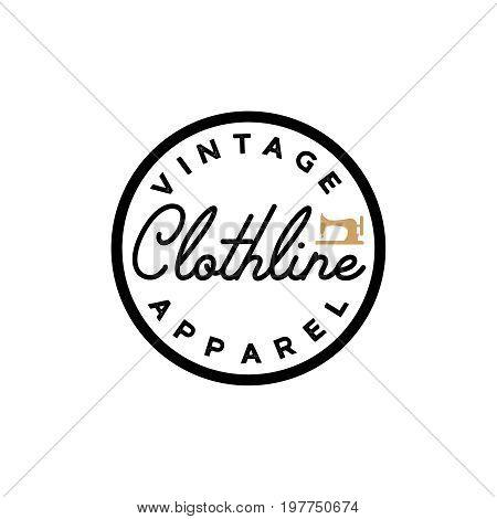 Clothline vintage simple retro logotype. Apparel label