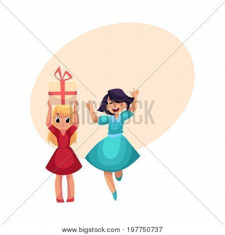 Two girls at birthday party, one dancing, jumping excitedly, another holding big gift, cartoon vector illustration with space for text. Happy girls having fun at birthday party