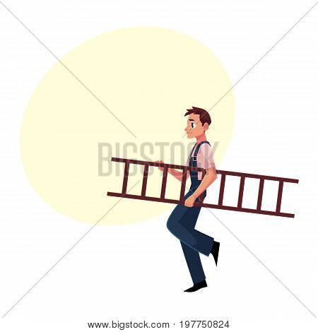 Construction worker, builder in jumpsuit carrying ladder, cartoon vector illustration with space for text. Full length portrait of smiling builder, construction worker carrying a ladder