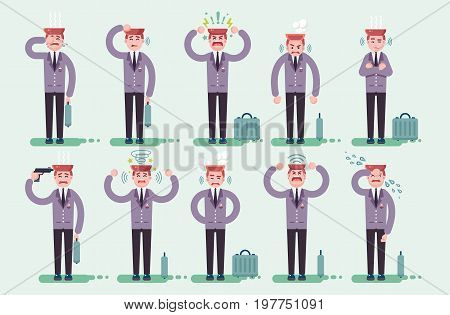 Stock vector set vector illustration character businessman office worker manager secretary stress and stressful situations reaction emotions to problems tears anger nerves fatigue cry flat style.