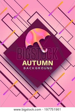 Umbrella abstract color poster, autumn season concept in trendy 90s style with  fluid gradients, lines, liguid texture, fashion bright background, banner, cover, invitation, flyer, vector illustration