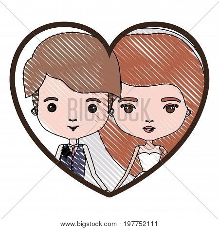 heart shape portrait with color crayon silhouette caricature newly married couple young groom with formal wear and bride with long hairstyle vector illustration