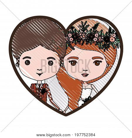 heart shape portrait with color crayon silhouette caricature newly married couple groom with formal wear and bride with wavy side long hairstyle vector illustration