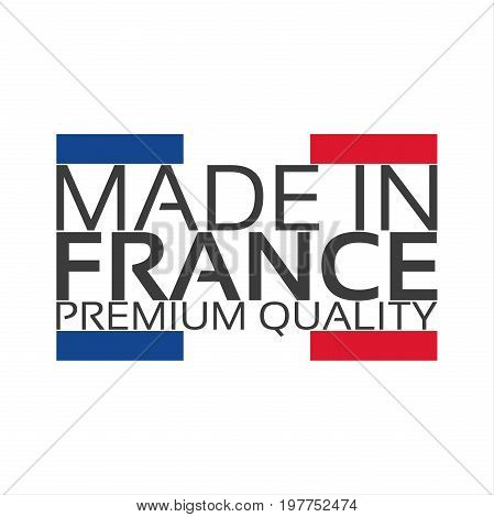 Made in France premium quality sticker with French color French ribbon vector illustration