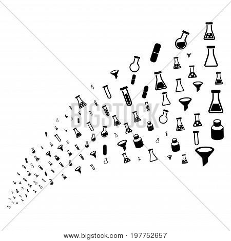 Stream of chemistry tubes icons. Vector illustration style is flat black iconic chemistry tubes symbols on a white background. Object fountain constructed from pictograms.