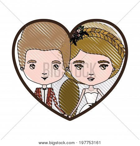 heart shape portrait with color crayon silhouette caricature newly married couple groom with formal wear and bride with ponytail side long hairstyle vector illustration