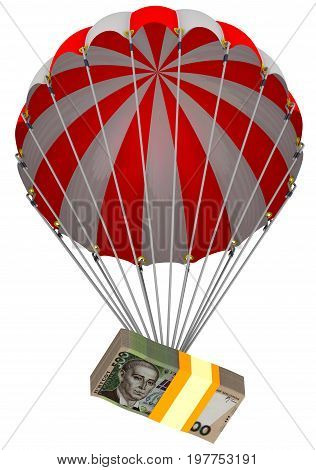 Depreciation of the Ukrainian hryvnia. A pack of Ukrainian hryvnia descends on a parachute. Isolated. 3D Illustration