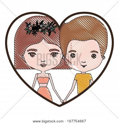 heart shape portrait with color crayon silhouette caricature couple of him with short light brown hair and her with dress and short hairstyle and floral crown accesory vector illustration