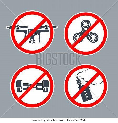 Set prohibition sign inside of round. No Hoverboard, Drone, Spinner, Vape. Vector flat simple red and black illustration on white background. For pictogram and icon.