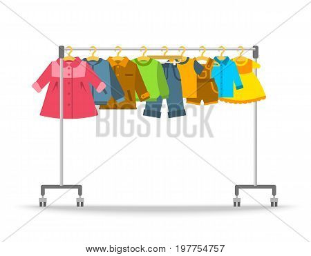 Kids clothes on hanger rack. Flat style vector illustration. Casual little children apparel hanging on shop rolling display stand. Boys and girls outfit fashion collection. Store sale concept