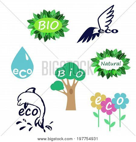 Bio logo set. Colection of vector emblems. Bio eco natural organic product stickers concept.