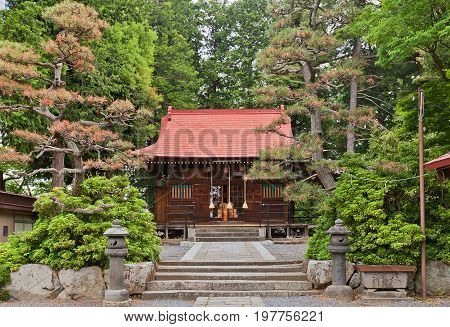 KAMINOYAMA JAPAN - MAY 28 2017: Tsukioka Shinto Shrine in Kaminoyama Yamagata Prefecture Japan. Located on the grounds of Kaminoyama Castle