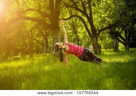 Yoga practice, woman exercising side plank pose. Morning garden, female doing Vasisthasana. Toned image.