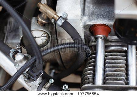 Motorcycle Engine Cylinder Closeup Detail. Customizing, Repair