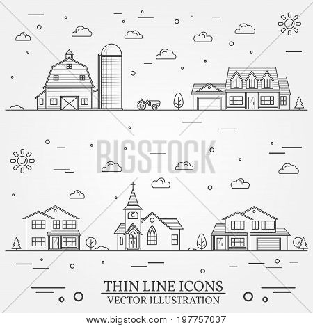 Neighborhood with buildings illustrated on white. Vector thin line icon suburban american houses, church and farm. For web design and application interface, also useful for infographics. Vector dark grey.