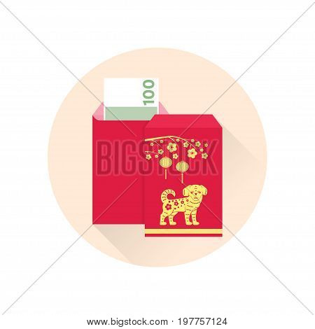 Chinese New Year red envelope flat icon. Vector illustration. Red packet with gold lanterns. Chinese new year design elements.