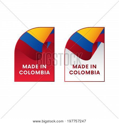 Stickers Made in Colombia. Waving flag. Vector illustration.