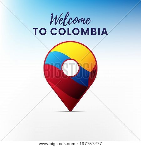 Flag of Colombia in shape of map pointer or marker. Welcome to Colombia. Vector illustration.