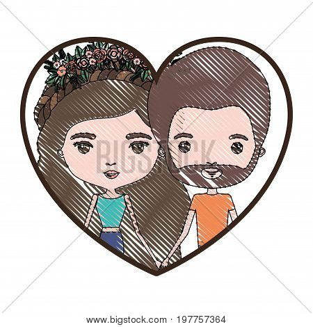 heart shape portrait with color crayon silhouette caricature couple of her in pants with brown and long wavy hair with floral crown and him with brown hair and beard vector illustration