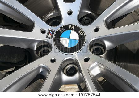 Sankt-Petersburg Russia July 21 2017: Front view of a BMW X6 M performance wheel. Photo Taken on Test-Drive July 21