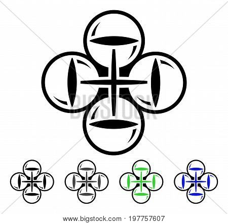 Quadcopter Flight flat vector icon. Colored quadcopter flight gray, black, blue, green icon variants. Flat icon style for web design.