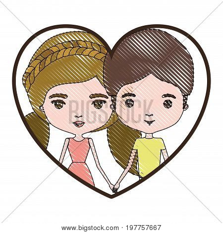 heart shape portrait with color crayon silhouette caricature couple and her with dress and blond pigtails hair and him with brown hair vector illustration