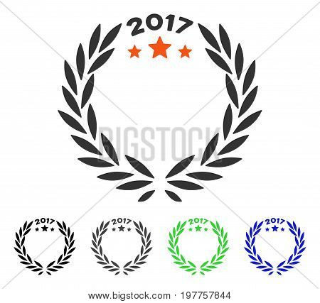 2017 Laurel Wreath flat vector icon. Colored 2017 laurel wreath gray, black, blue, green icon versions. Flat icon style for graphic design.