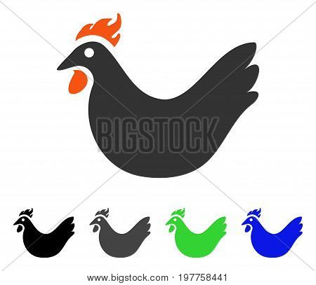Hen flat vector pictograph. Colored hen gray, black, blue, green icon variants. Flat icon style for application design.