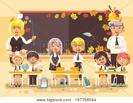 Stock vector illustration back to school cartoon characters schoolboy schoolgirls pupils apprentices teachers studying in classroom sitting at staple with textbooks on background blackboard flat style.