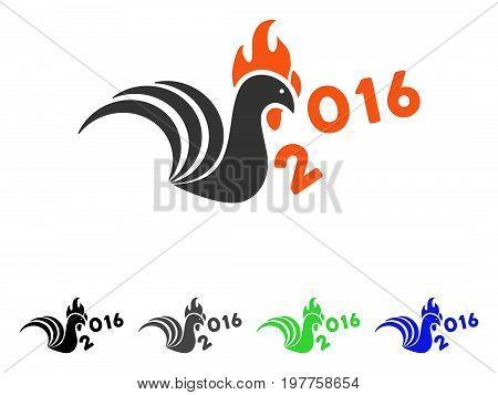 Rooster Kick 2016 Year flat vector illustration. Colored rooster kick 2016 year gray, black, blue, green pictogram versions. Flat icon style for application design.