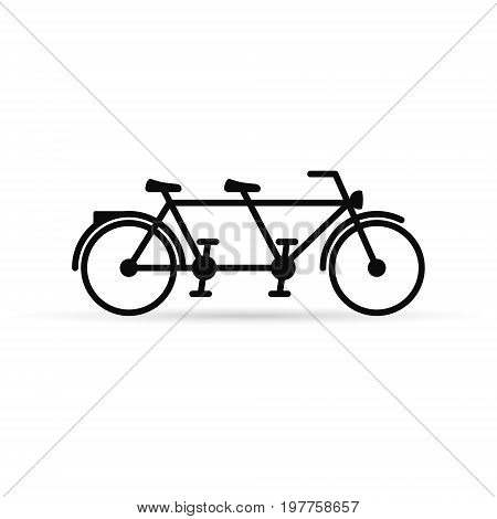 Tandem bike vector icon isolated on white background.