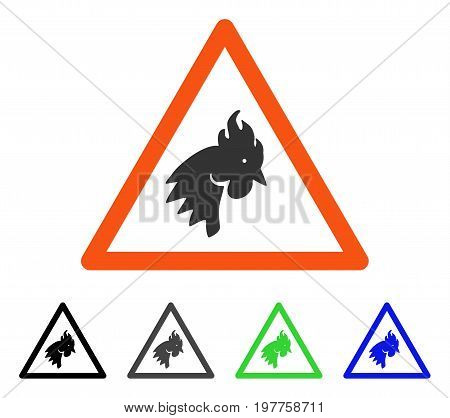 Rooster Warning flat vector pictograph. Colored rooster warning gray, black, blue, green icon versions. Flat icon style for application design.
