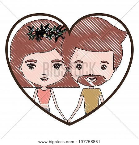 heart shape portrait with color crayon silhouette caricature couple and both with light brown hair and her with short hair and floral crown and him with van dyke beard vector illustration