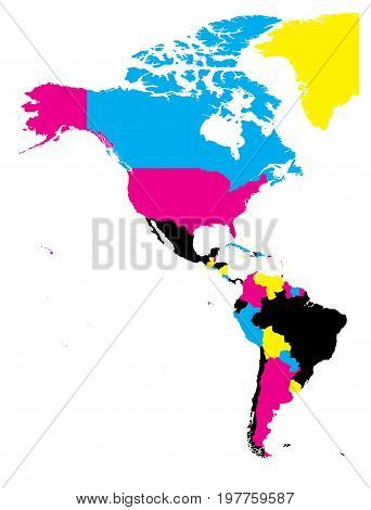 Political map of Americas in CMYK colors on white background. North and South America. Simple flat vector illustration.