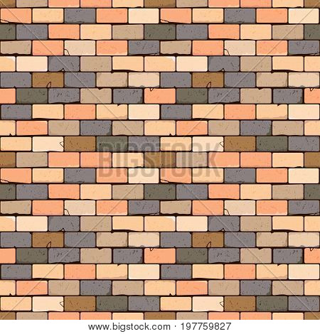 Distressed overlay texture of old brickwork grunge background. Abstract vector illustration. Seamless brick wall pattern