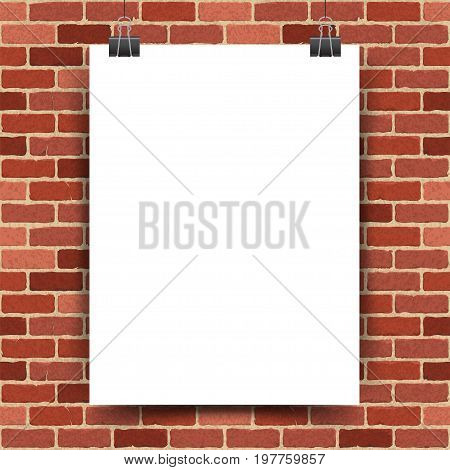 Vector illustration of a white poster hanging on clerical clips on a red brick wall background
