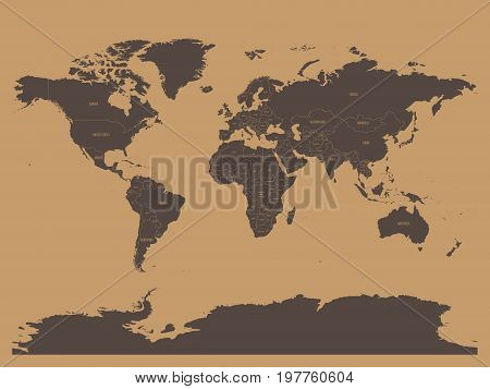Political map of world in chocolatte brown colors. EPS10 vector illustration.