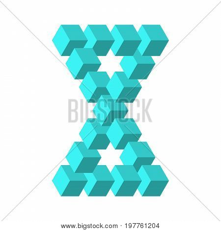 Two connected impossible triangles in turquoise blue. 3D cubes arranged as geometric optical illusion. Reutersvard traingle. Vector illustration.
