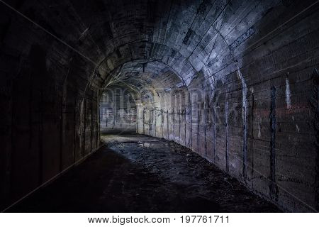 Tunnel in abandoned Soviet bunker. Turn the tunnel