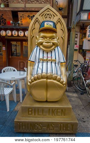 OSAKA, JAPAN - JULY 18, 2017: Billiken The God of Things As They Ought To Be Statue is everywhere in the Shinsekai district.