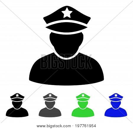 Army General flat vector pictograph. Colored army general gray, black, blue, green icon variants. Flat icon style for application design.